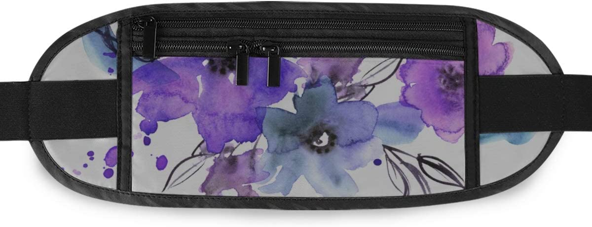 Cute Hand Painted Flowers Invitation Running Lumbar Pack For Travel Outdoor Sports Walking Travel Waist Pack,travel Pocket With Adjustable Belt