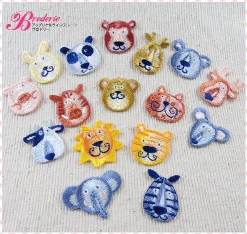 ミノダ 小さな動物の刺繍アイロンワッペン[18枚セット] ic003_10