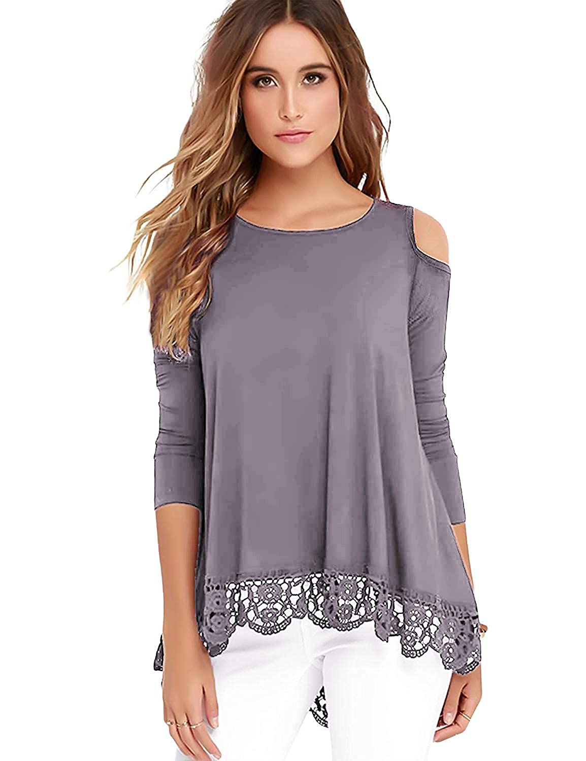 6db8b616c915b6 Bosbary Womens Cold Shoulder Tops Long Sleeve Lace Trim Tunic Blouse at  Amazon Women s Clothing store