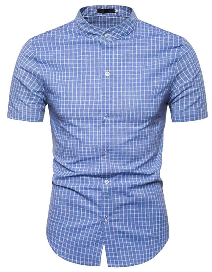 Generic Mens Casual Banded Collar Short Sleeve Button Down Slim Plaid Shirt Tops