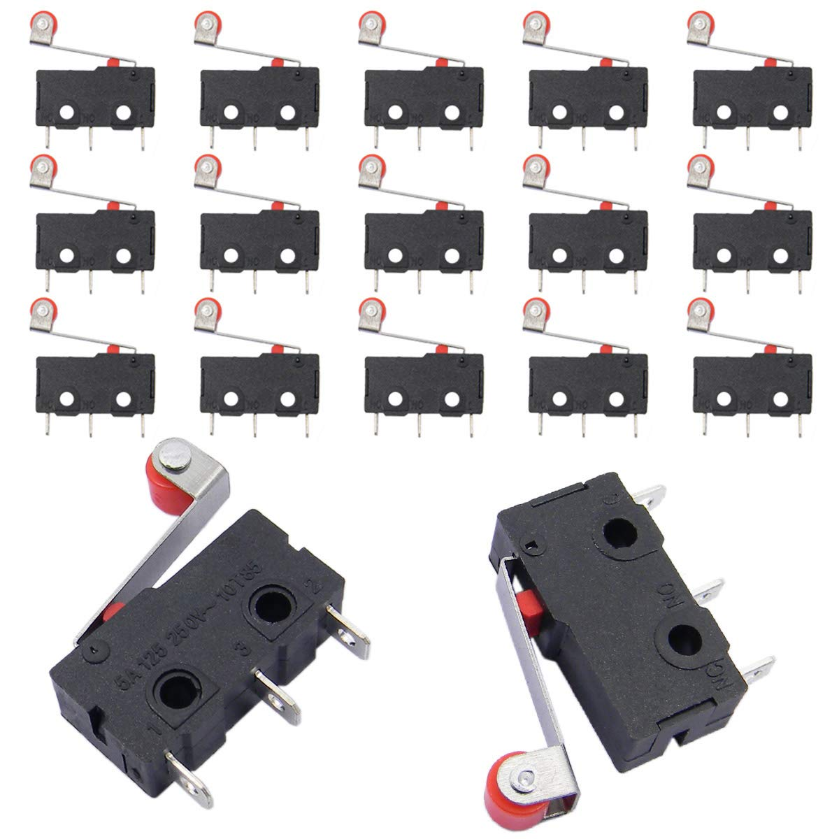QY 15PCS Hinge Roller Lever Micro Limit Switch Lever Arm SPDT Snap Action 5A 125 250VAC 3 Terminals Momentary Travel Switch