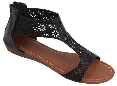 ff00514d375 SBG Womens Gladiator Sandals Thong Flops T Strap Flip Flops Flats Back Zip  Closure and Padded