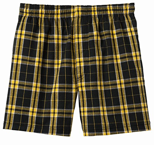Joes USA(tm) - Mens Soft and Cozy Plaid Flannel Pajama Boxer Shorts, Gold, Small ()