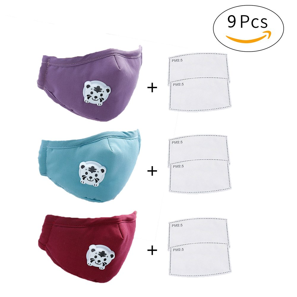 CHUANGLI 3 Pack Cute Kids Anti PM 2.5 Pollen Dust Mask Washable Cotton N95 Masks with Valve Replaceable Filter