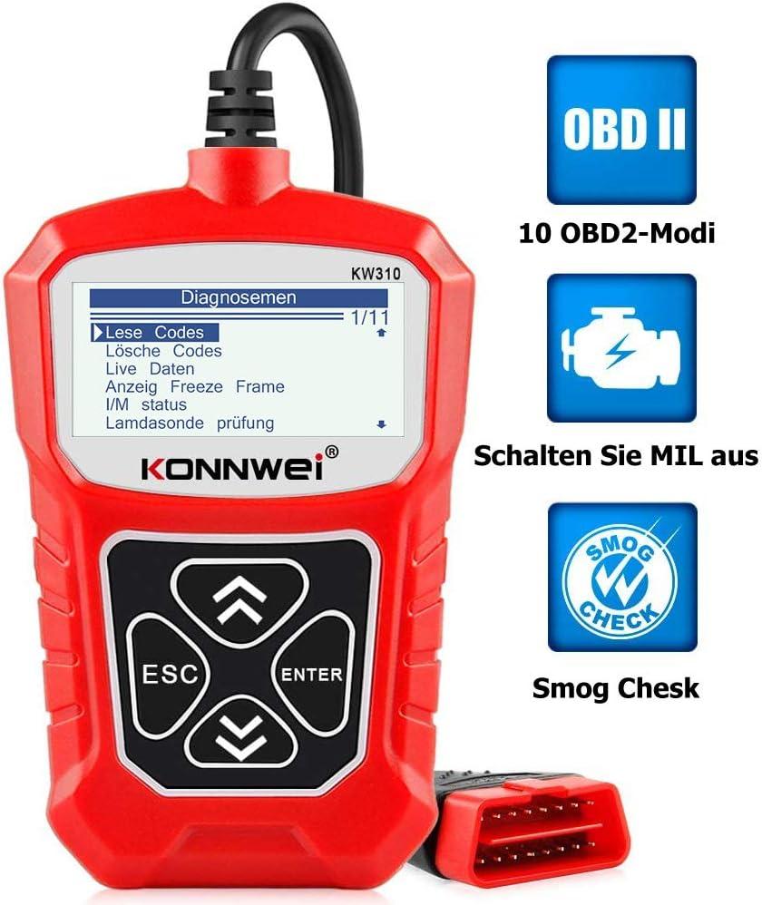 Konnwei Kw310 Obd2 Diagnosegerät Universal Auto Diagnosegerät Automotor Fehler Code Scanner Für 16 Pin Obdii Eobd Can Protokoll Kfz In Deutsch Auto