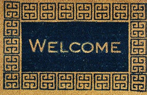 - Coir Welcome Doormat/Blue and Tan/Premium Entryway Natural Coir Door Mat, Coconut Fibers, Outdoor All Seasons 18