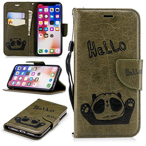 iPhone Xs Case, iPhone X Case, ZERMU Premium PU Leather Bear Pattern [Wrist Strap] [Kickstand Feature] Flip Folio Leather Wallet Case with ID and Credit Card Pockets for iPhone Xs/iPhone X