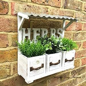 Macetero tipo ventana para hierbas aromáticas, estilo rústico, de madera, para macetas