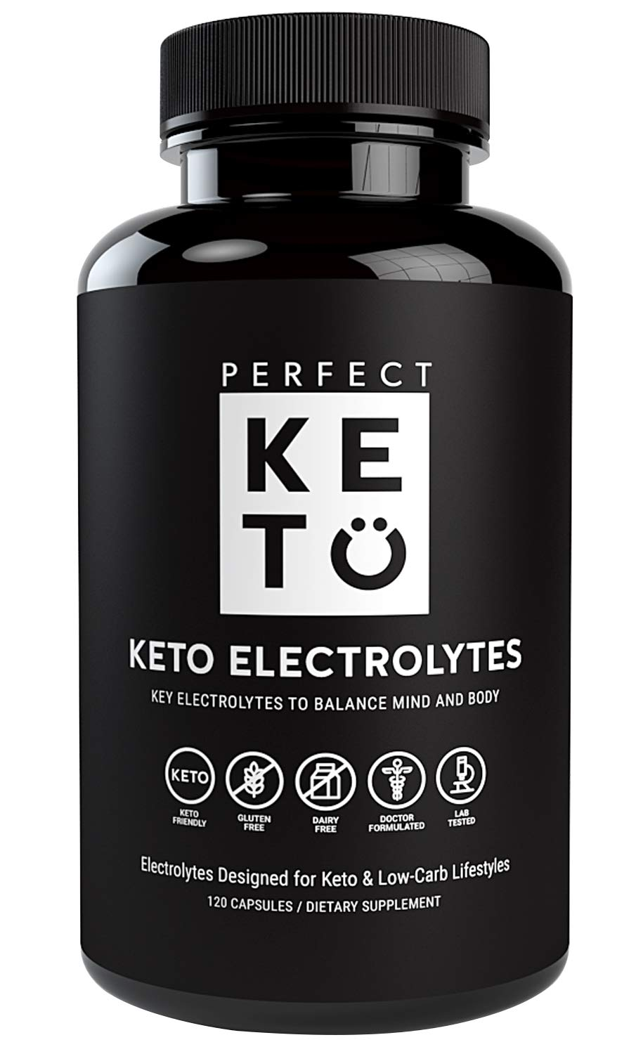 Perfect Keto Flu Electrolyte Supplement: Electrolytes Capsules for Low Carb Diet or Ketogenic Diet to Balance Mind & Body. Energy Supplements, Sodium, Potassium, Magnesium (1 Bottle, 120 Count)