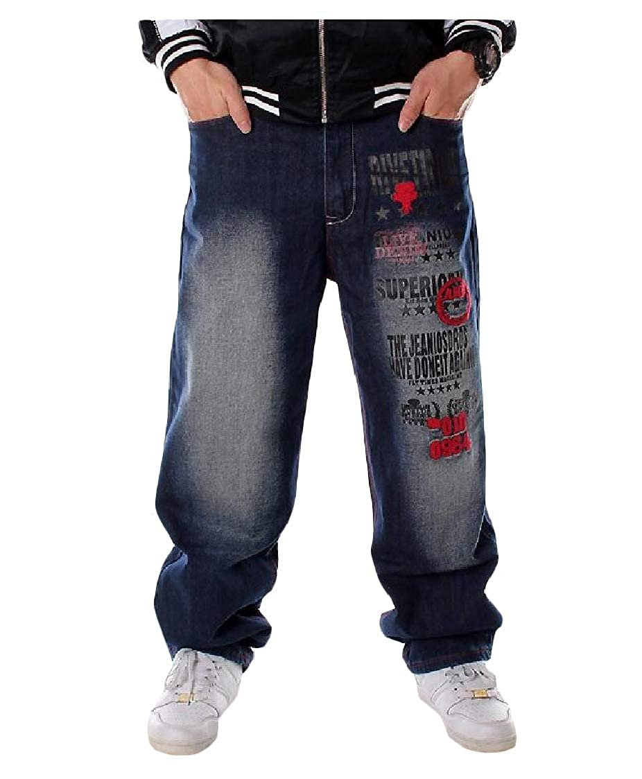 Lutratocro Mens Jeans Fashion Hip-Hop Loose Trousers Embroidery Denim Pants