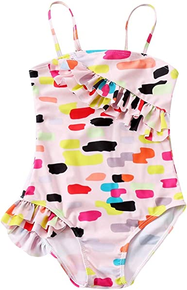 Baby Girls One Piece Swimsuit Cartoon Tiger Print Ruffle Halter Beach Bathing Suit