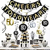 JeVenis 50th Birthday Party Decorations Kit - Cheers to 50 Years Banner, 12Pcs Sparkling 50 Hanging Swirl Decorations, Perfect 50th Anniversary Decorations 50 Years Old Party Supplies
