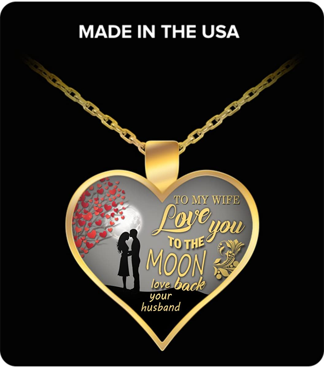 Amazon Com Romantic To My Gorgeous Wife Love You To The Moon Back Wife Heart Pendant Necklace Gold Plated Jewelry Birthday Gift Ideas Christmas Gifts Her Jewelry