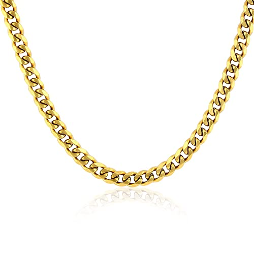 f043ea26d PY Bling Cuban Chain Link-Stainless Steel 4mm 14K/18K Gold Plated Stainless  Steel Necklace for Men Women-Hip Hop Jewelry(7-30 inches) (18, ...