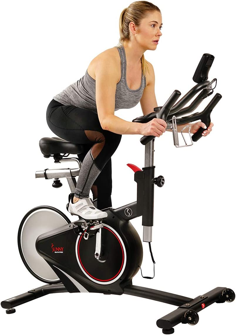 Sunny Health Fitness Magnetic Rear Belt Drive Indoor Cycling Bike