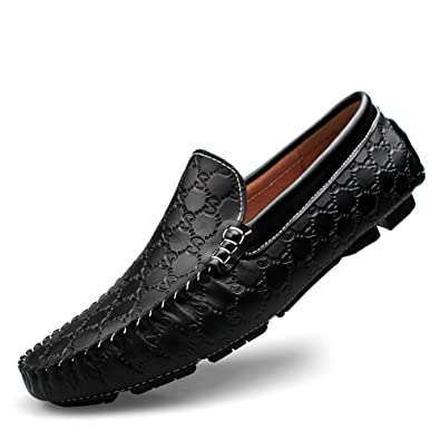 HUAN Hommes Chaussures en Cuir Automne Mocassins Mocassins et Slip-Ons Chaussures de Marche Pour les Chaussures de Conduite Décontractée (Color : Black, Taille : 41)