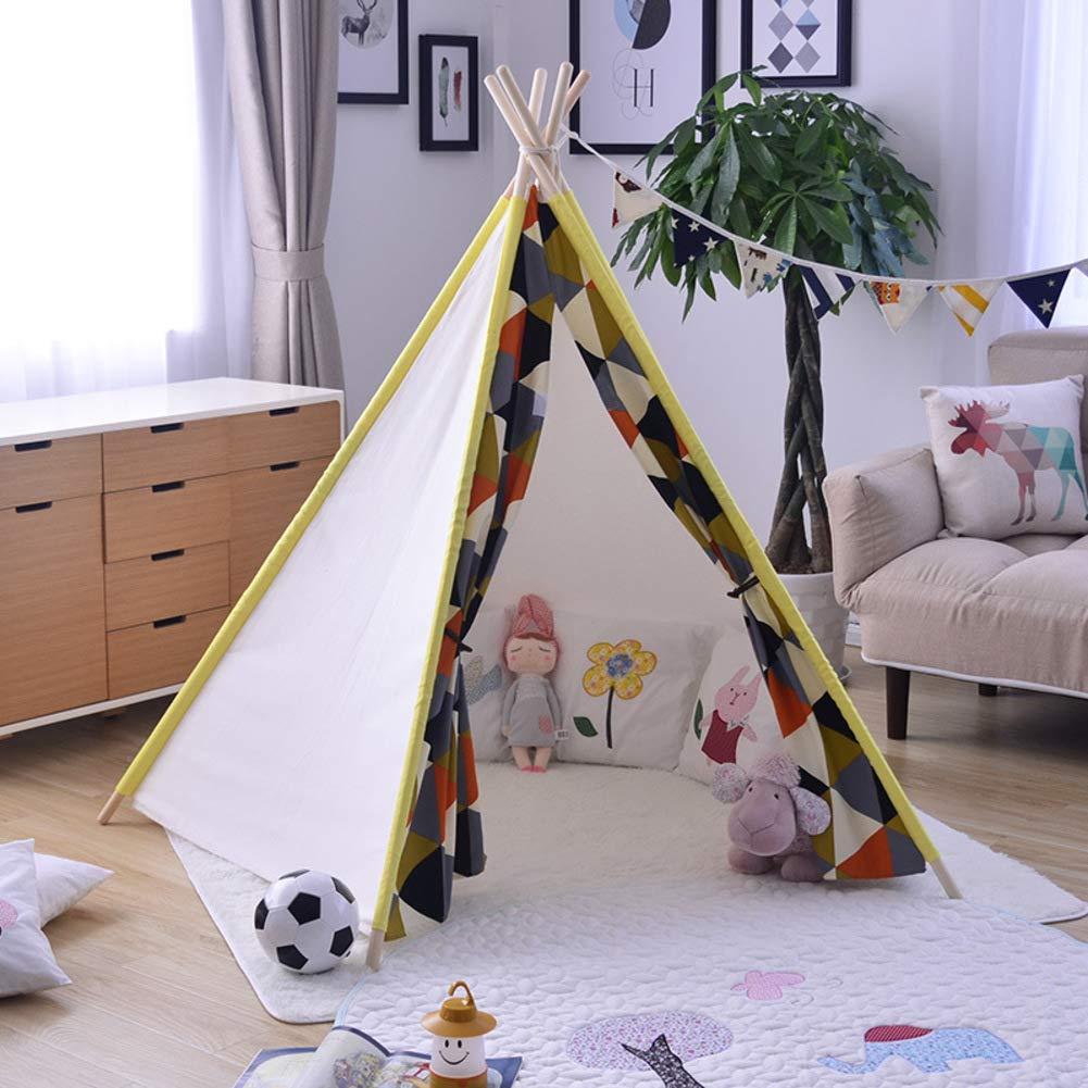 迷彩スタイル五角形尖塔コットン キャンバス子供のプレイハウス,ニュージーランド松のインドの子供のテント屋内屋外プレイハウス大きなスペース赤ちゃん女の子姫城-B  B B07KCHHXD7
