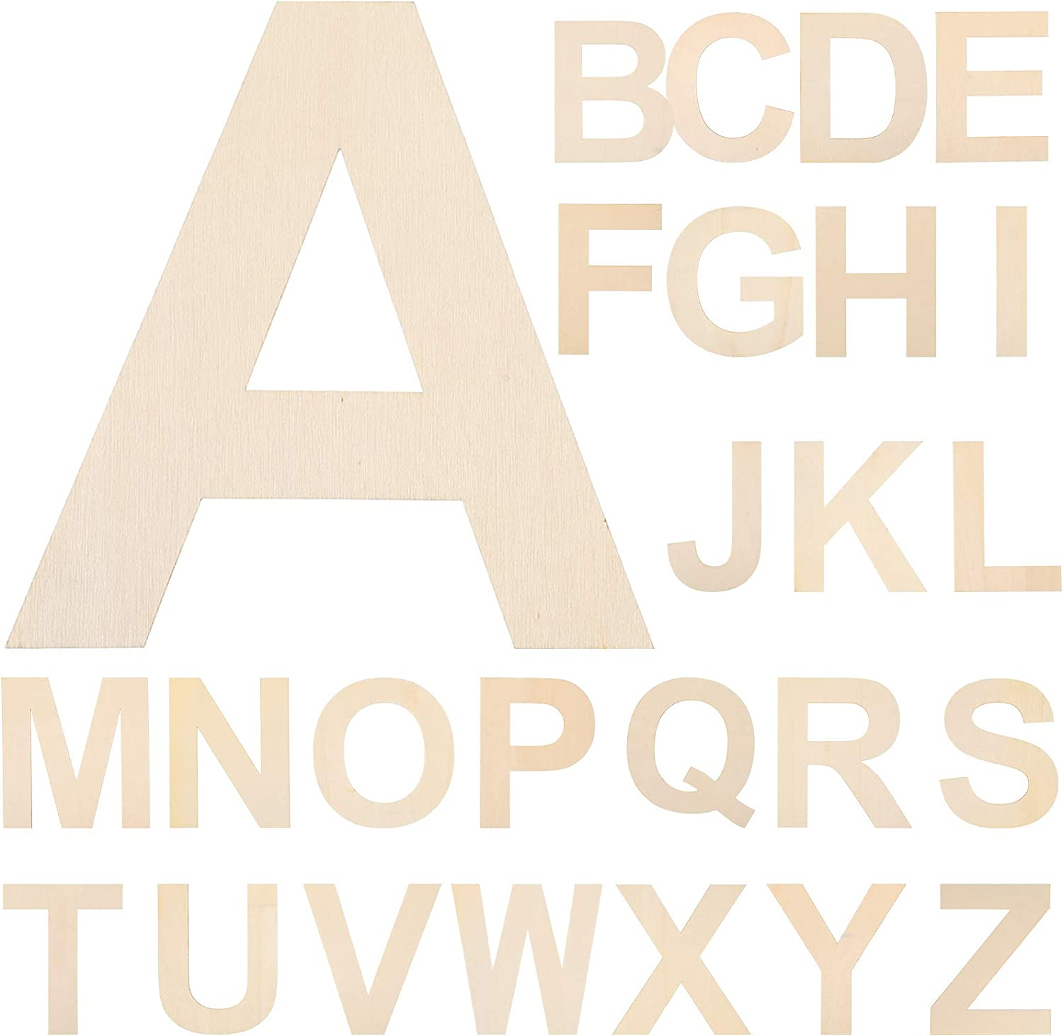 26 Pieces 11 Inches Wooden Alphabet Letters Large Wooden Craft Letters Natural Wood Capital Letters DIY Wooden Alphabet Cutout for Home Wall Decor Kids