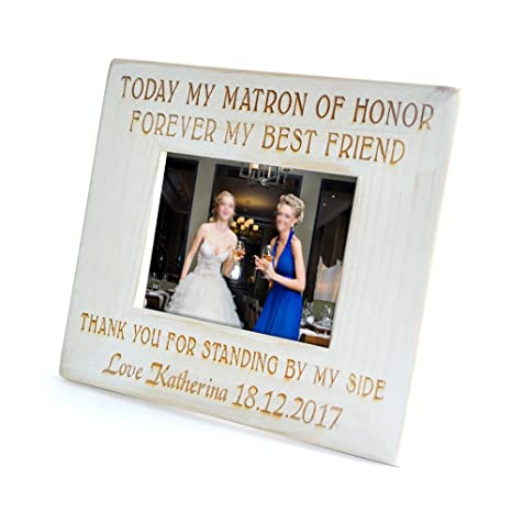 Shabby Rustic Chic best friends bride matron of gift photo frame personalised