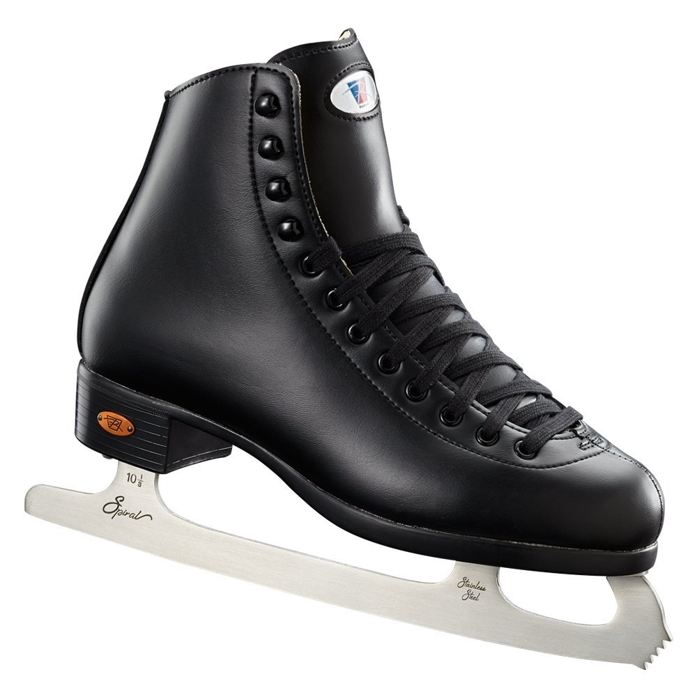 Riedell Skates - 10 Opal - Recreational Youth Ice Skates with Stainless Steel Spiral Blade for Boys | Black | Size 12 Youth