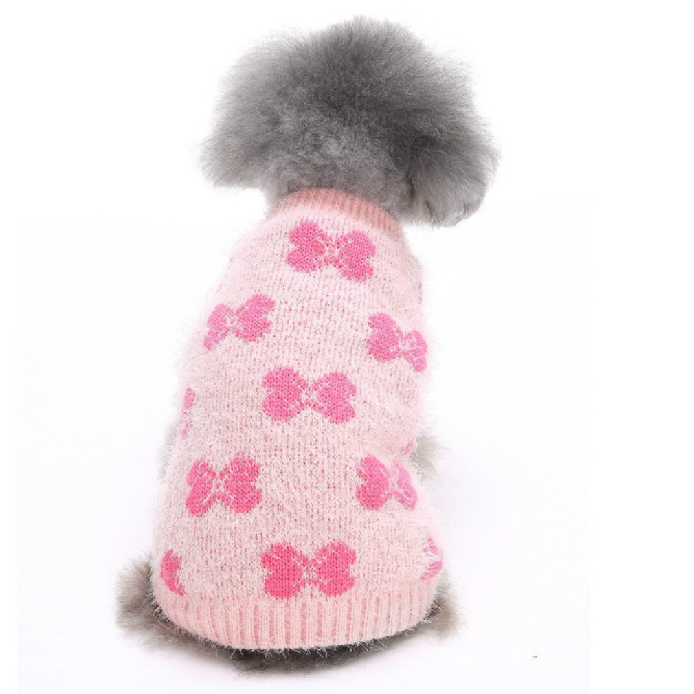 Large Dog Apparel Clothes & Sweatshirt Pink Bowknot Dog Sweater Designer Dog Sweater 12  Back Length Large