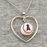 MLB Los Angeles Angels of Anaheim 3D Baseball Heart Pendant Necklace