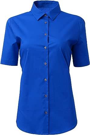 Mujer Camisa Manga Corta, Camisa Blusa Básica Casual de Algodón Informal Formal, Ideal para Oficina/Trabajo/Entrevista: Amazon.es: Ropa y accesorios