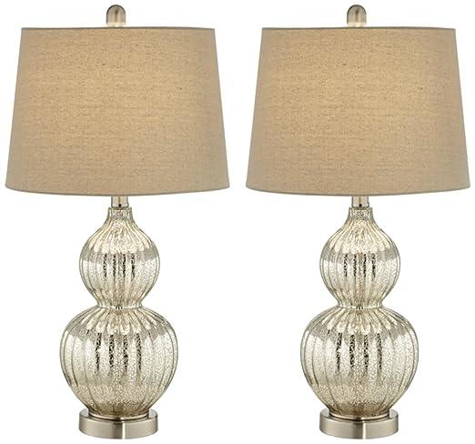 Lili fluted mercury glass table lamp set of 2
