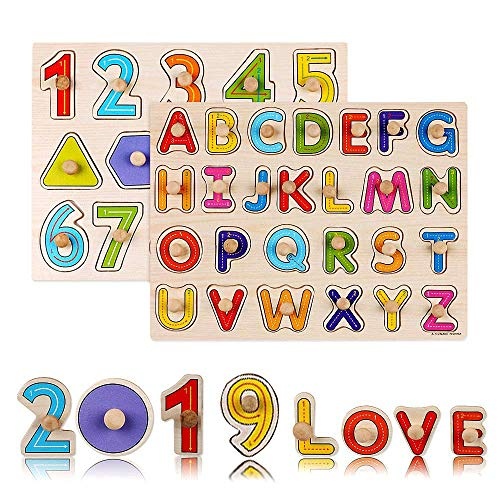 , 2 Piece Premium Wooden Peg Puzzle Set for Kids - Alphabet, Numbers + Shapes Puzzle Toy - Perfect Pegged Knob Puzzles for Kids Toddlers Ages 3+ ()