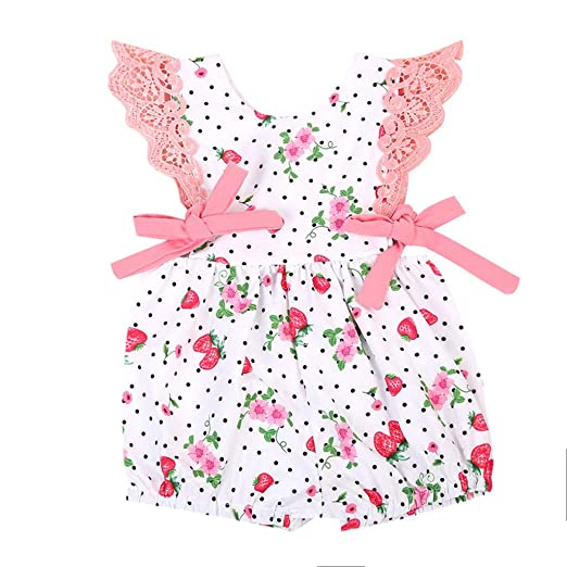 08870dbf9 Cuekondy Newborn Toddler Baby Girls Polka Dot Strawberry Printed Romper  Bodysuit Jumpsuit Summer Clothes: Clothing