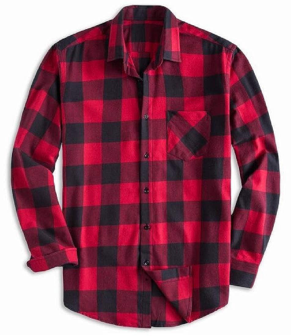 YYG Men Cotton Plaid Long Sleeve Lapel Casual Loose Fit Button Up Shirt Coat