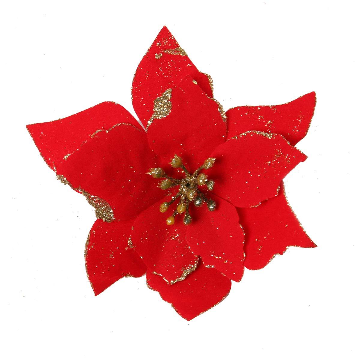 Adorno de /Árbol y Sillas para Navidad Fiestas 13 cm CUSFULL 12Pcs Flores Artificiales Navide/ños con Brillos Flor Rojo de Pascua con Purpurina Nochevieja Bodas Di/ámetro 5.1 /'/'