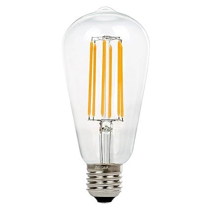 ST64 8W Vintage Lámpara de Techo, Retro Bombilla de filament LED Bulbo, NATIONALMATER Estilo de Edison Bombilla, E27 Base, 500 Lúmenes, Blanco Cálido ...