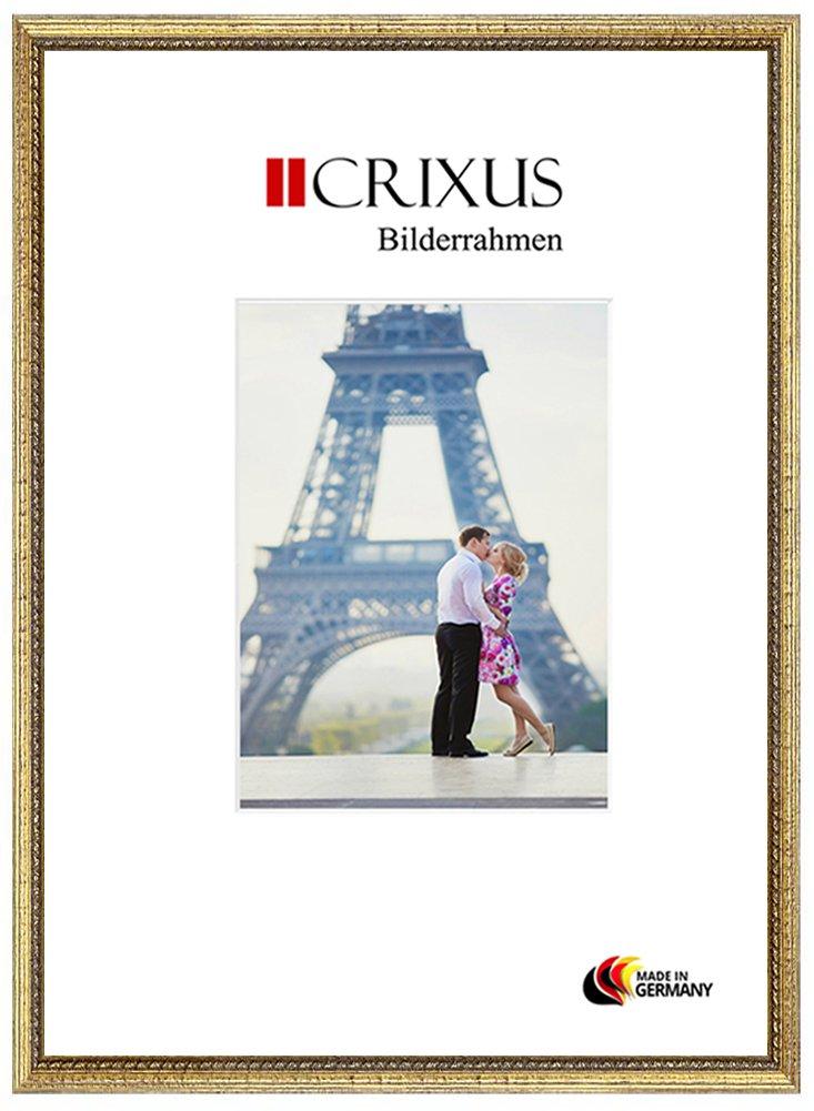 Crixus26 Echtholz Bilderrahmen für 57 x 85 cm Bilder, Farbe  Gold, Massivholz Rahmen in Maßanfertigung mit Acryl Kunstglas (Bruchsicher) und MDF Rückwand, Rahmen Breite  26mm, Aussenmaß  60,4 x 88,4 cm