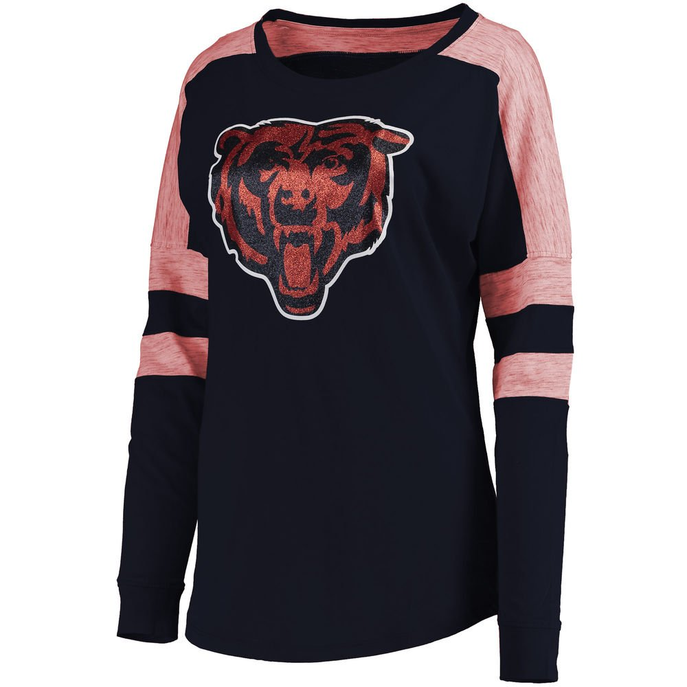 best loved cdf5c 7b0e0 5th & Ocean Chicago Bears Womens Glitter Logo Long Sleeve T-Shirt