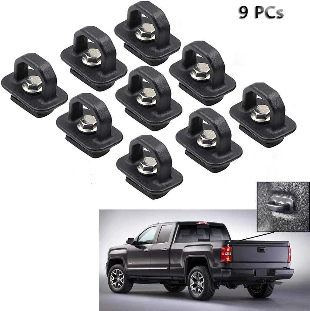 Tie Down Anchors 9Pcs Truck Bed Side Wall Anchor fit for 07-20 Chevy Silverado//GMC Sierra,15-20 Chevy Colorado//GMC Canyon DZ97903