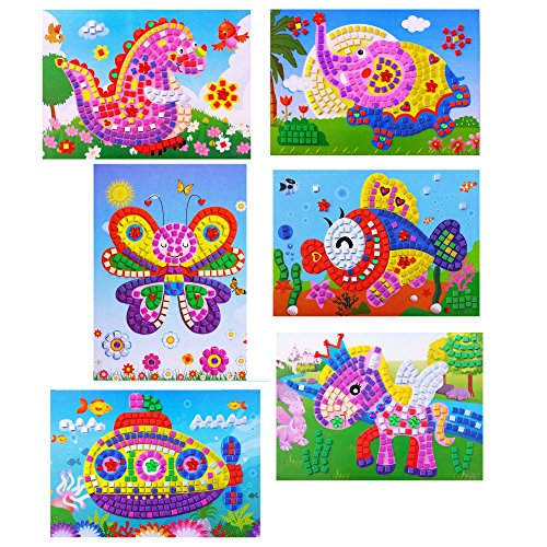 Oveelando®6in1#1,mosaics Sticky Elephant,fish,dinosaur,spaceship,pegasus,butterfly Card,sheet,pictures for Kids Peel,stick,display,mosaic Sticker