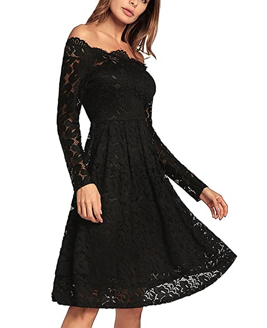 Vestido de Noche Largo de Encaje de Manga Larga para Mujer Vestido de Noche Largo de