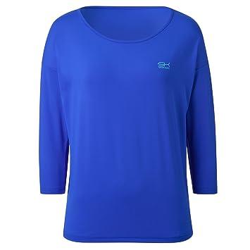 SPORTKIND Loose Fit Shirt aux Manches 3 4 pour Tennis Fitness   Yoga pour 2e59bcc6d64