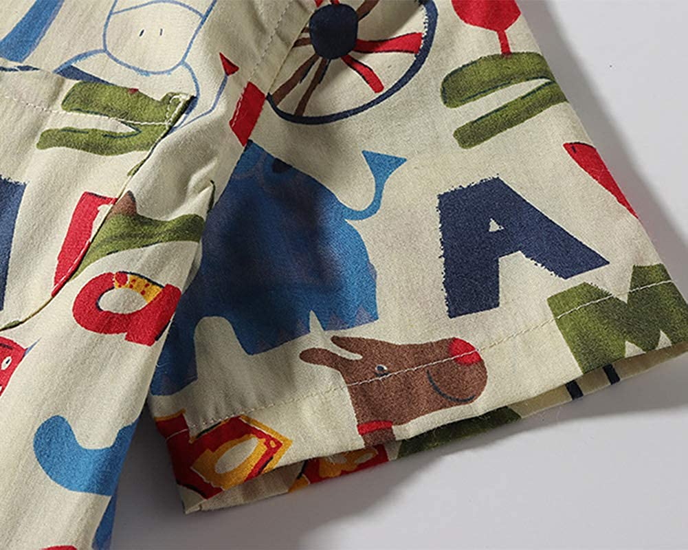 DianShaoA Camicie Maniche Corte Bimbo Cartone Animato Leone Pattern Stampa Camicia per Ragazzi Maglietta Camicetta Top