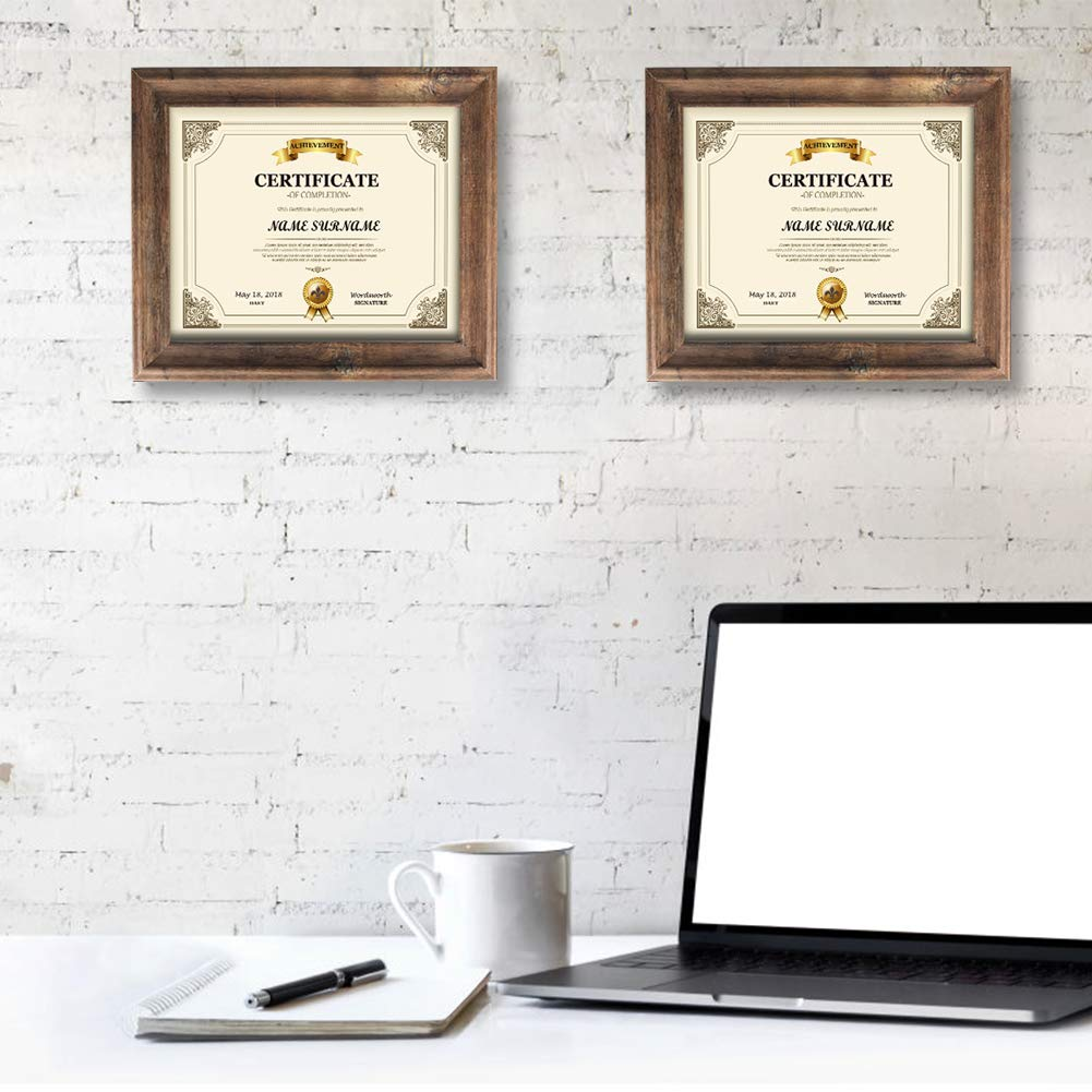 Artsay 8.5x11 Certificate Document Diploma Frame Rustic Distressed Picture Frames 8.5 x 11 Set, Wall Hanging and Tabletop, 2 Pack, Brown by Artsay (Image #6)