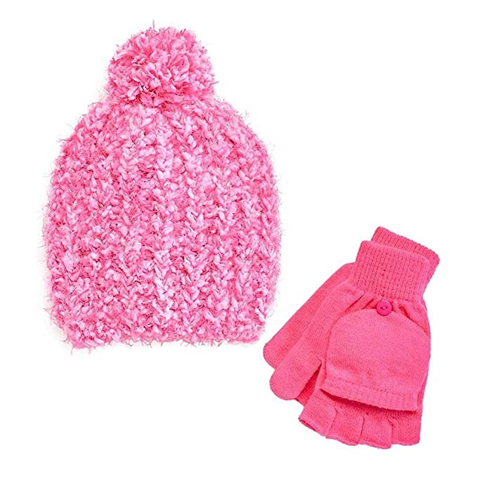 0c791cfdbab Amazon.com  Girls 4-14 SO Marled Sparkle Pom-Pom Hat   Flip-Top ...