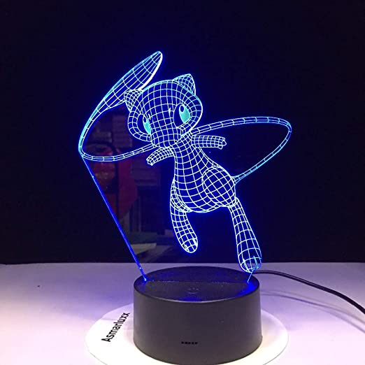 Tavoli Per Bambini Dwg.Mew Pokemon Go Lovely 3d Lamp 7 Colors Led Night Lamps Per