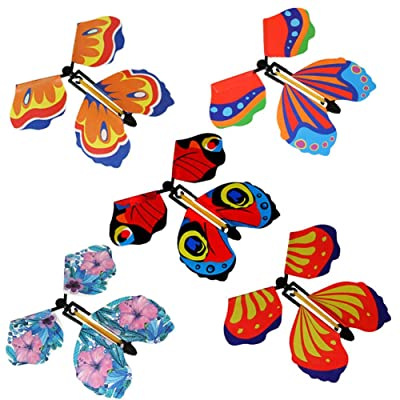 FENGTING 5pcs Magic Flying in The Book Butterfly Rubber Band Powered Wind Up Butterfly Toy for Kids: Home & Kitchen