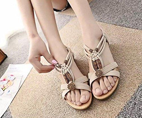 YOUJIA Mujer Sandalias de cuña Bohemian Peep Toe Ornamento de perla Plano Zapatos de Playa Beige