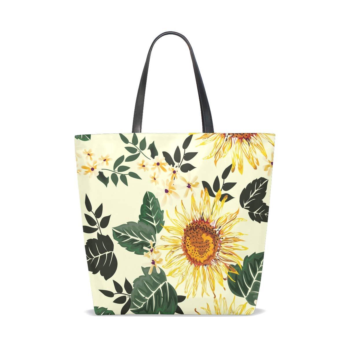 Hengpai solros grönt blad tygväska handväska axelväska för kvinnor flickor Multi3