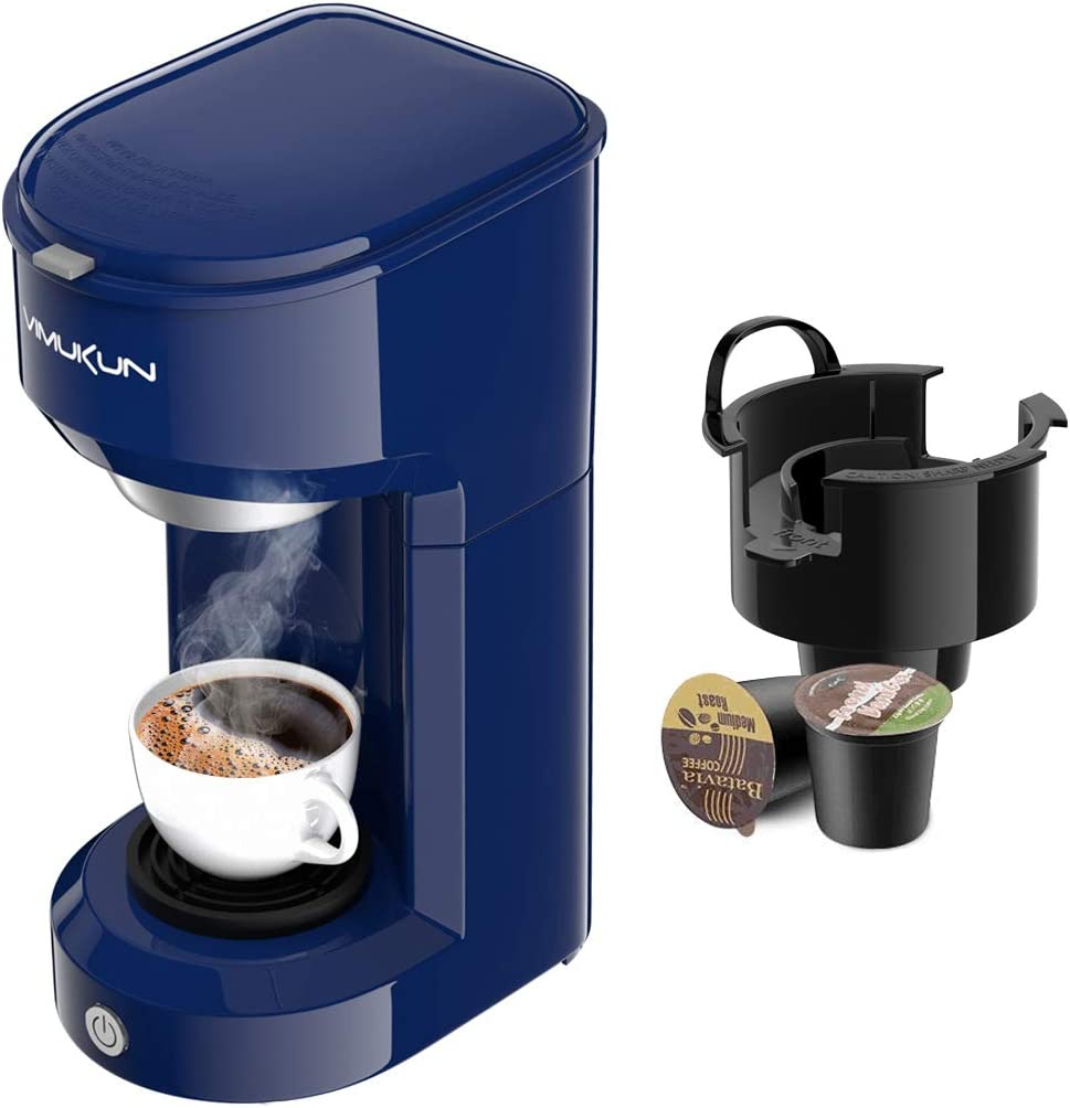 Single Serve Coffee Maker Coffee Brewer Compatible with K-Cup Single Cup Capsule with 6 to 14oz Reservoir, Mini Size (Blue)
