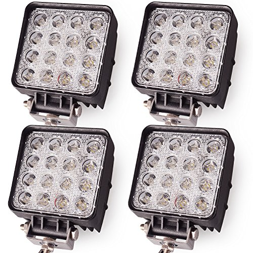 Oplips 48W 4 inch Square LED Work Light Lamp Off Road High Power ATV Jeep 4x4 Rv Trailer Boat Tractor