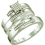0.15 Carat (ctw) 10k White Gold Round White Diamond Men And Women's Micro Pave Engagement Ring Trio Set