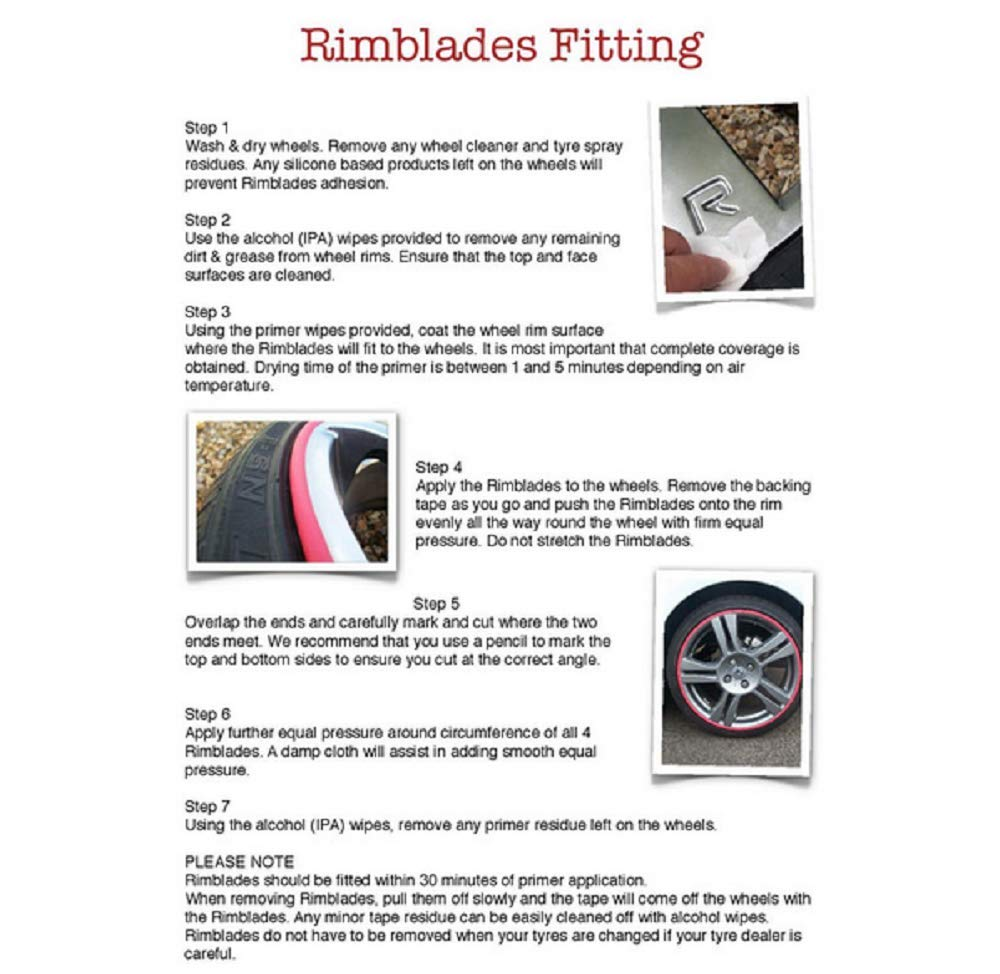 GoBadges RB01 Red Rim Blade, (fits 4 wheels up to 22'') by GoBadges
